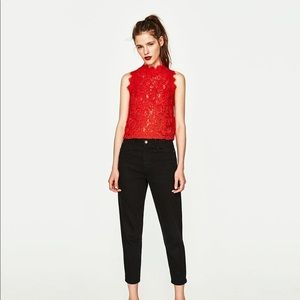 Zara Trafaluc Embroidered Lace Top Sleeveless Red